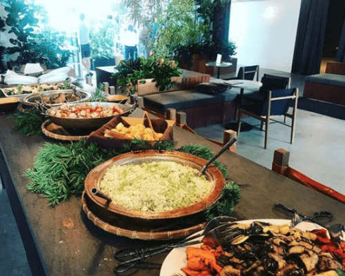 buffet catering client meeting lunch team order los angeles