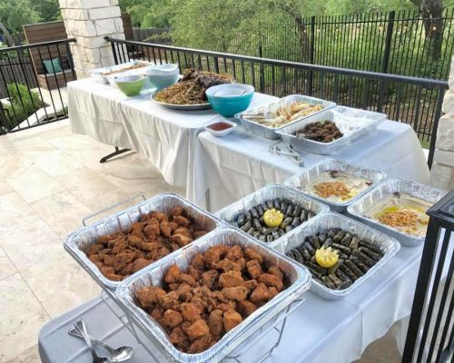 buffet style food spread office food delivery team lunch order