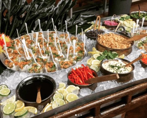 corporate buffet business catering team treat food order