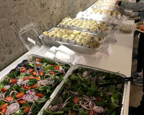 corporate catering team lunch group food order buffet