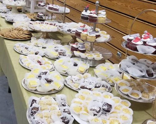 dessert section table setup order cake catering party food