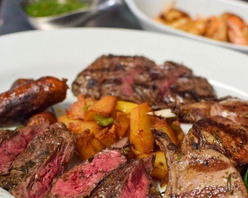 family social event caterer steak american food packs