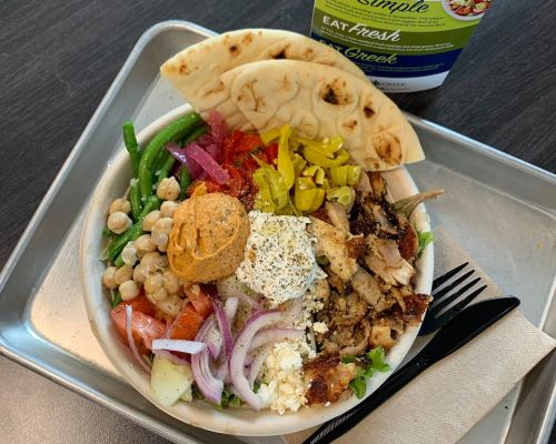 fresh healthy greek bowls food