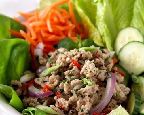 larb salad with high protein food
