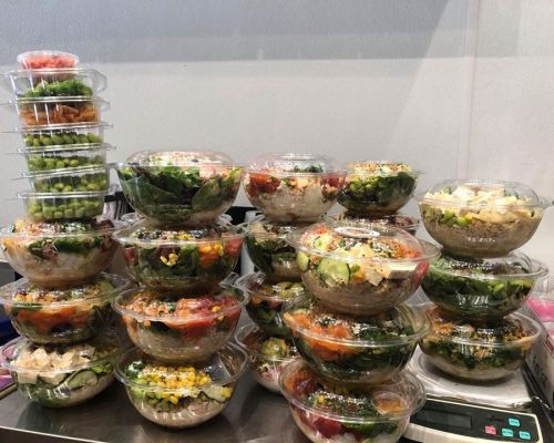 individually packaged poke bowls sushi catering