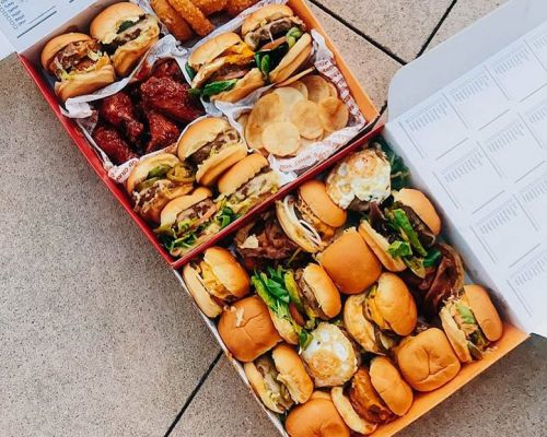 party catering food burger snack fast food order family pack